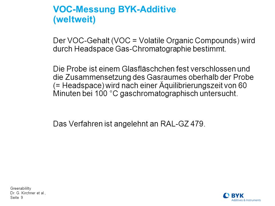 VOC-Messung BYK-Additive (weltweit)