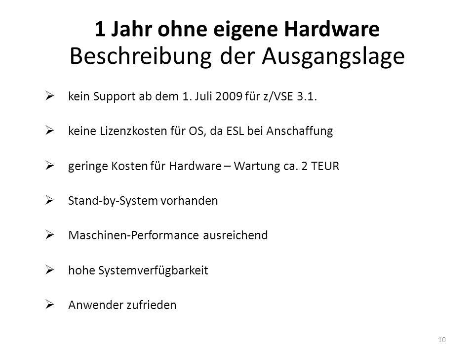 1 Jahr ohne eigene Hardware Beschreibung der Ausgangslage