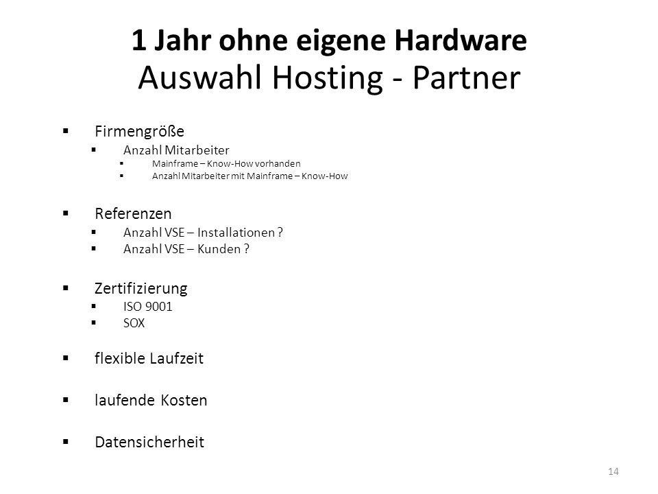 1 Jahr ohne eigene Hardware Auswahl Hosting - Partner
