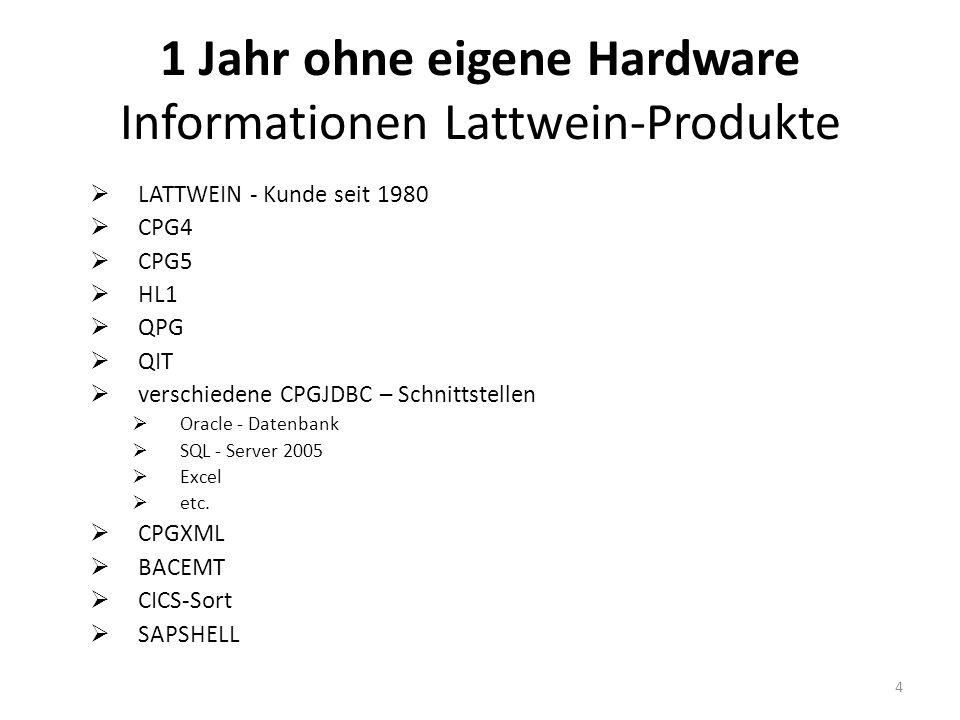 1 Jahr ohne eigene Hardware Informationen Lattwein-Produkte