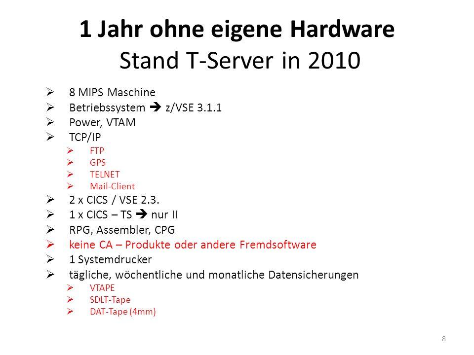 1 Jahr ohne eigene Hardware Stand T-Server in 2010