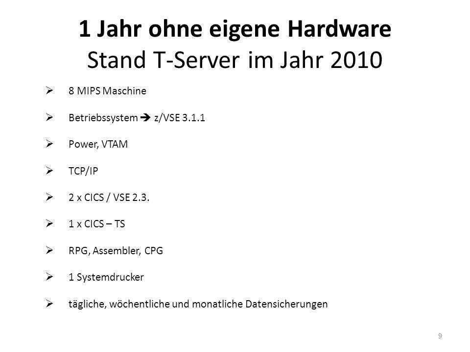 1 Jahr ohne eigene Hardware Stand T-Server im Jahr 2010