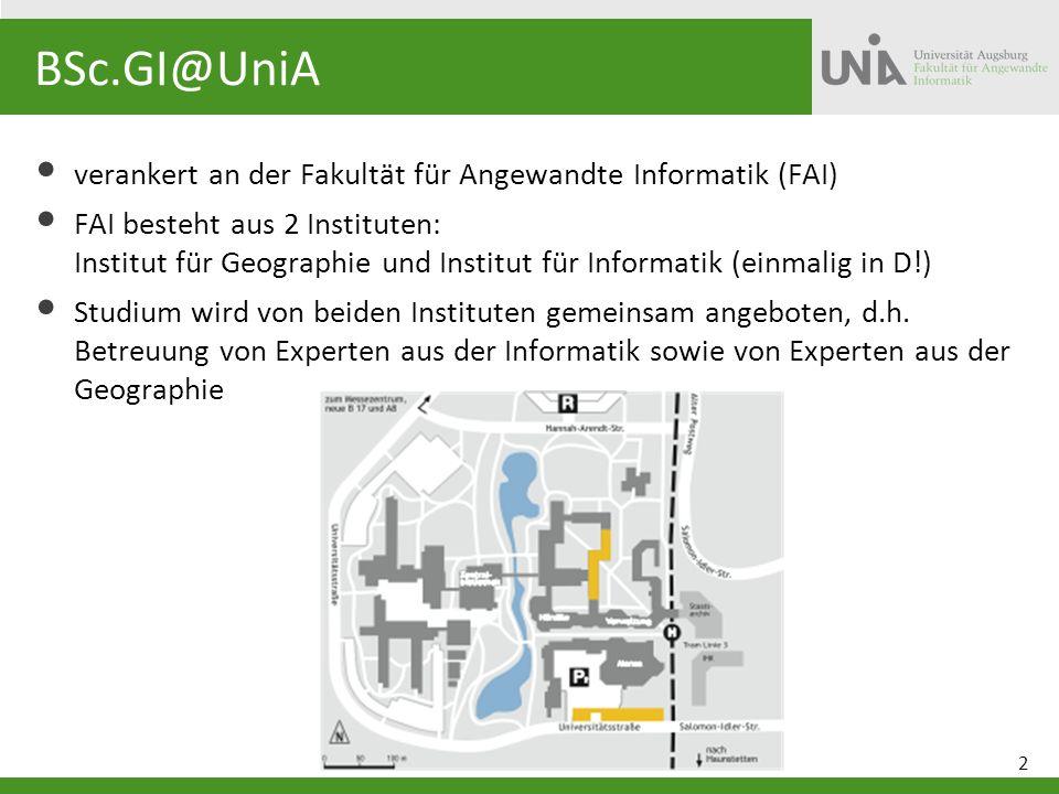 BSc.GI@UniA verankert an der Fakultät für Angewandte Informatik (FAI)