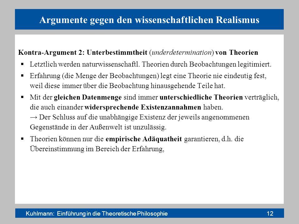 Argumente gegen den wissenschaftlichen Realismus