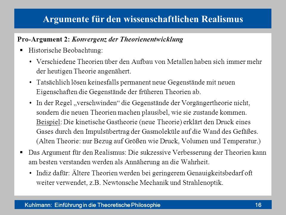 Argumente für den wissenschaftlichen Realismus