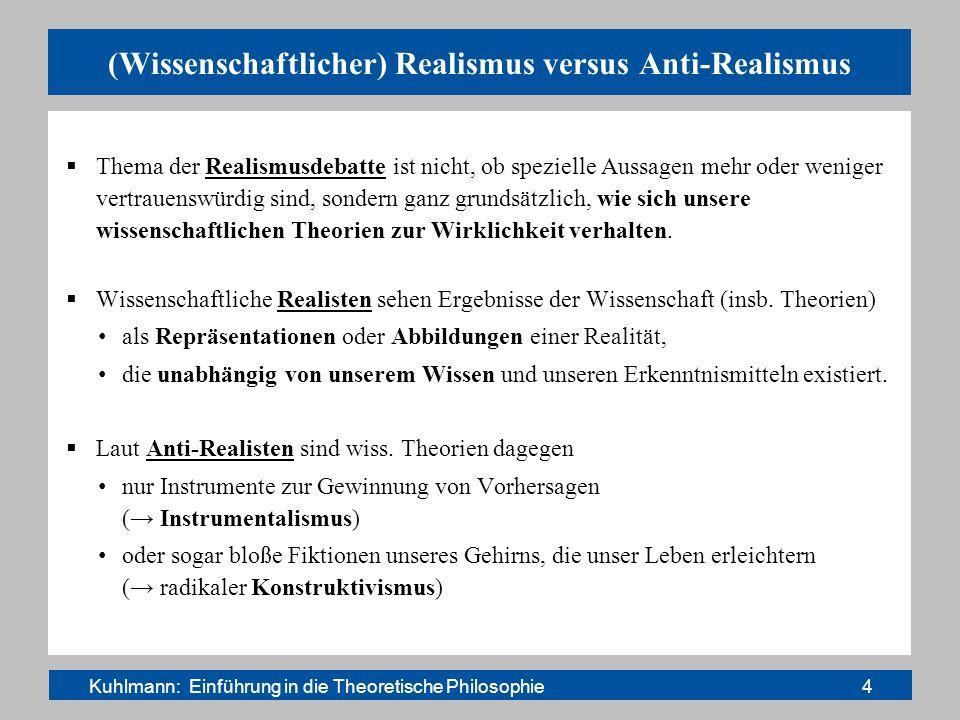 (Wissenschaftlicher) Realismus versus Anti-Realismus