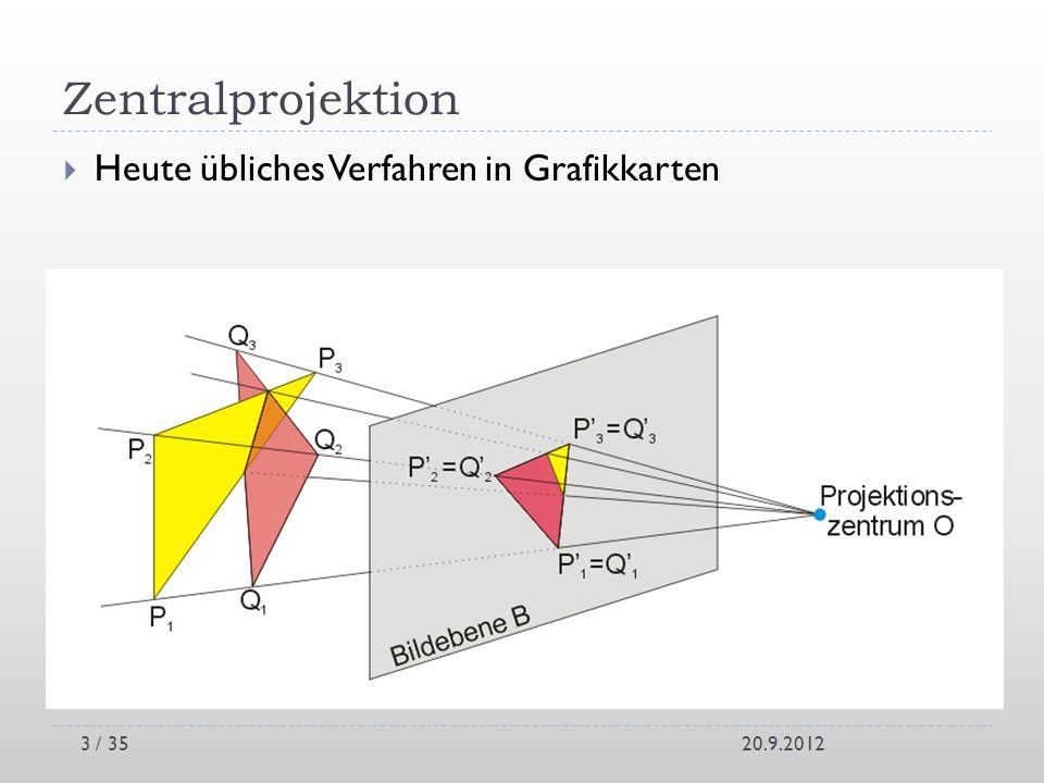 Zentralprojektion Heute übliches Verfahren in Grafikkarten 20.9.2012