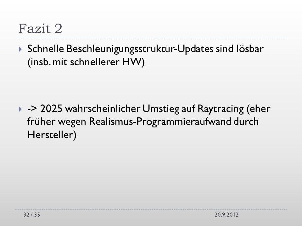 Fazit 2 Schnelle Beschleunigungsstruktur-Updates sind lösbar (insb. mit schnellerer HW)