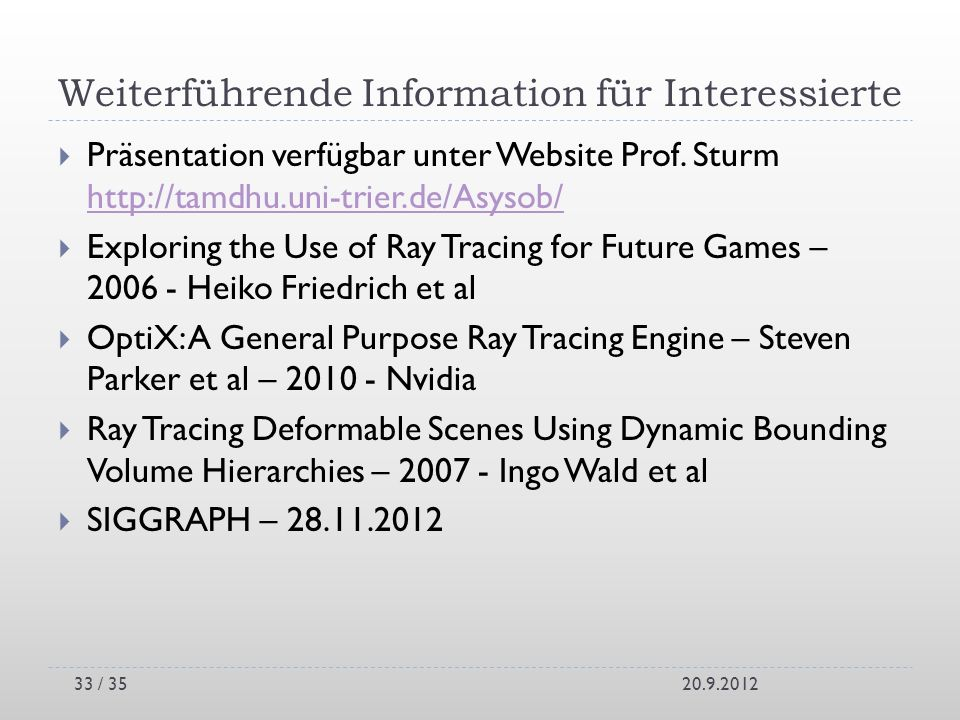 Weiterführende Information für Interessierte