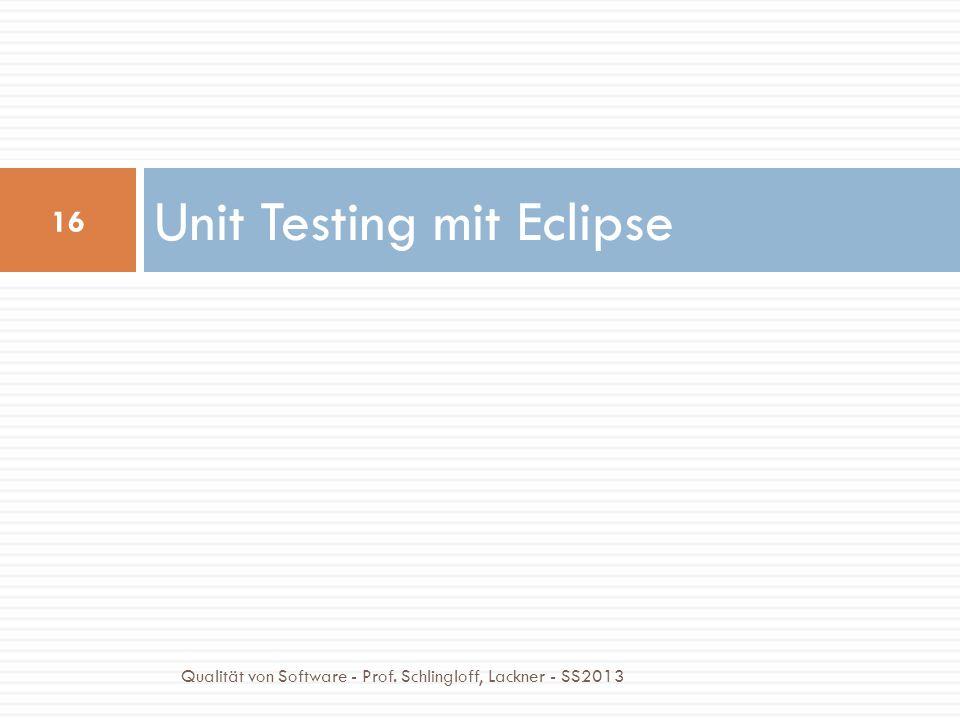 Unit Testing mit Eclipse