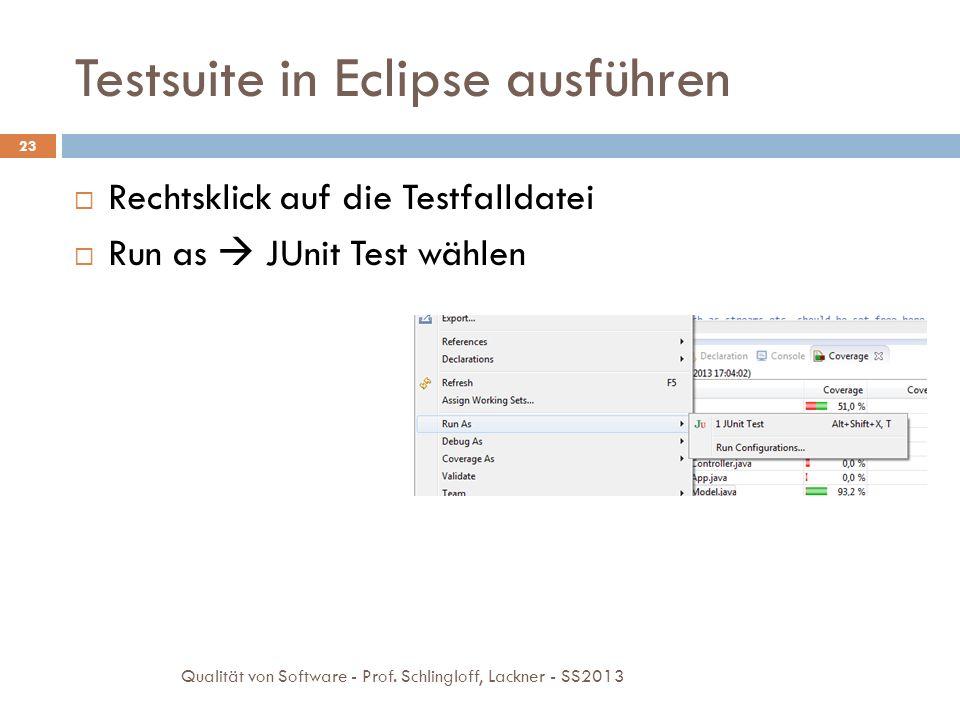 Testsuite in Eclipse ausführen