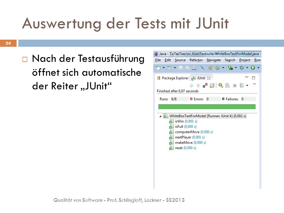 Auswertung der Tests mit JUnit