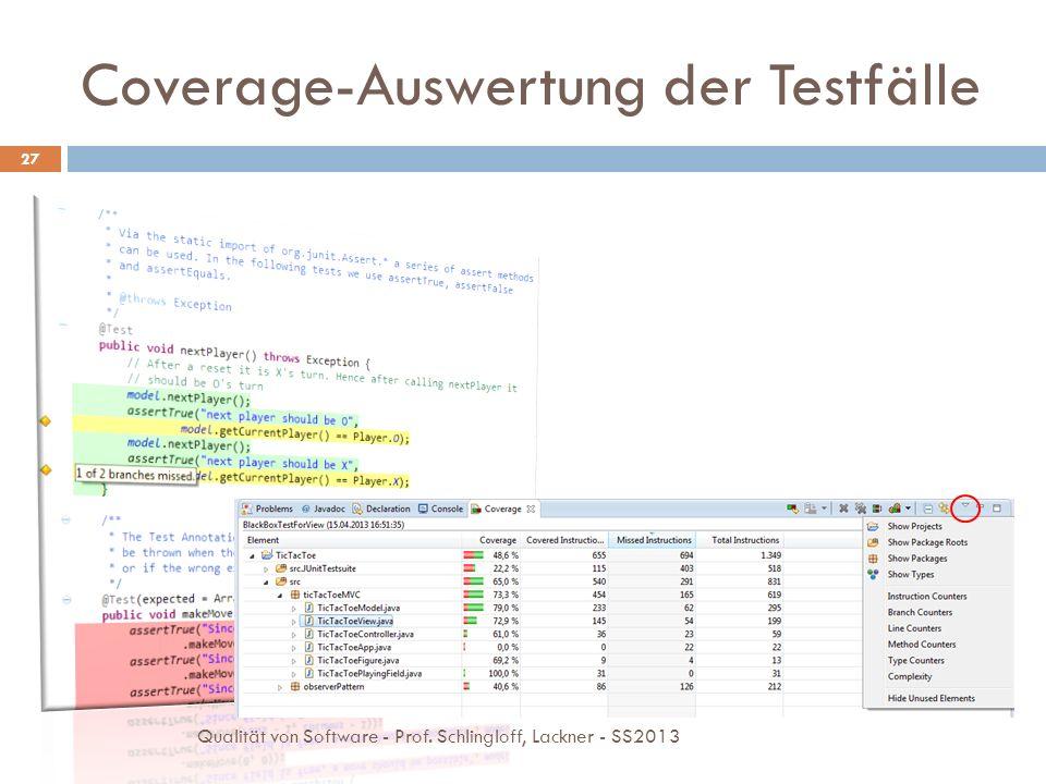 Coverage-Auswertung der Testfälle