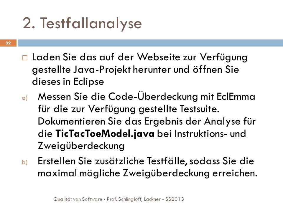 2. Testfallanalyse Laden Sie das auf der Webseite zur Verfügung gestellte Java-Projekt herunter und öffnen Sie dieses in Eclipse.