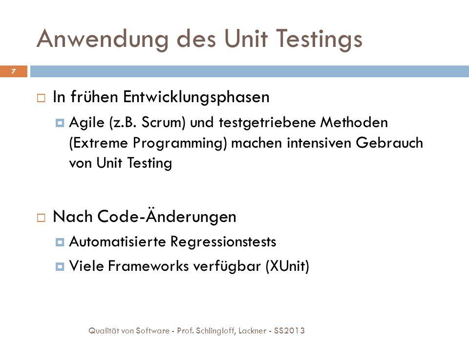 Anwendung des Unit Testings