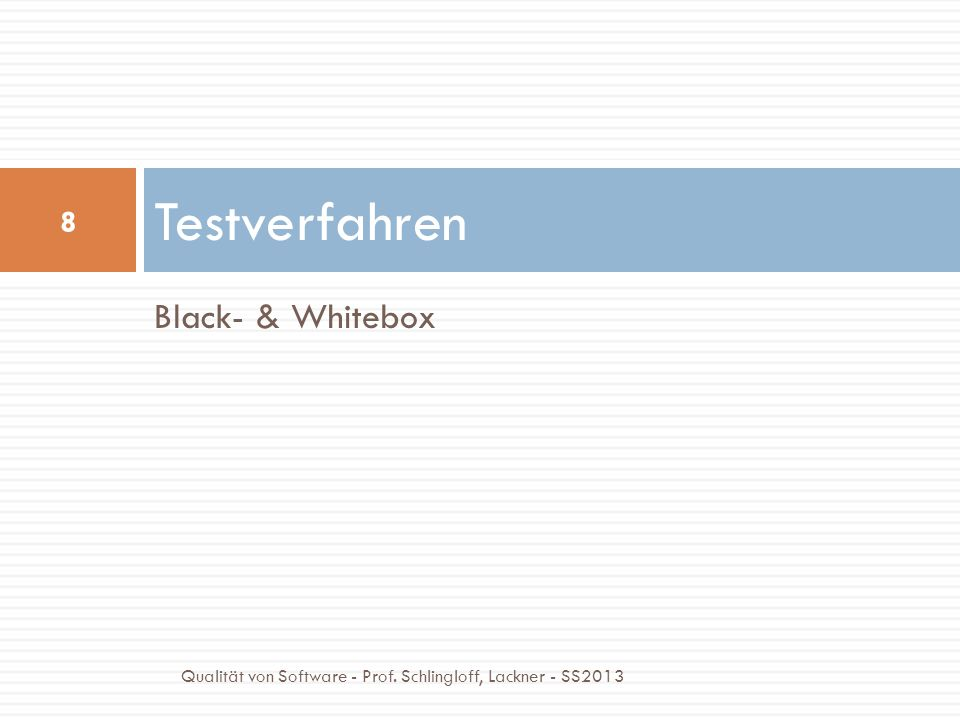 Testverfahren Black- & Whitebox