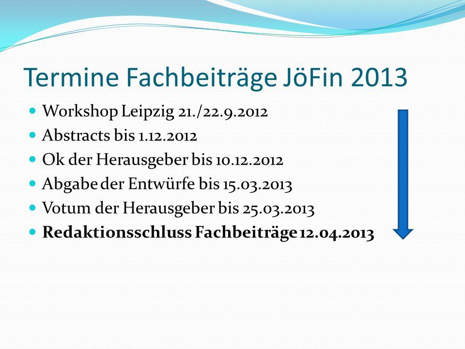 Termine Fachbeiträge JöFin 2013