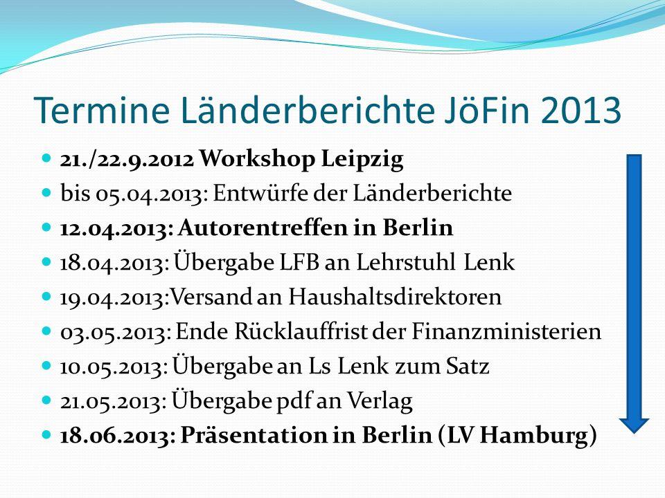 Termine Länderberichte JöFin 2013