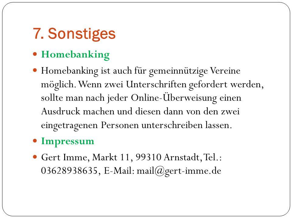7. Sonstiges Homebanking