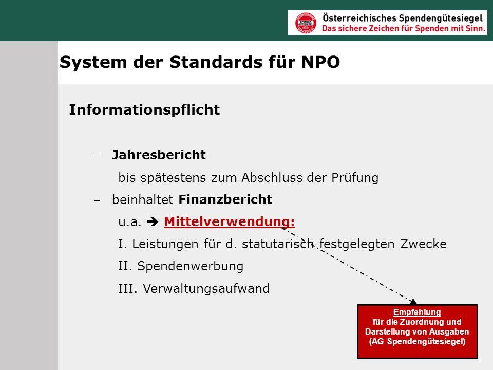 für die Zuordnung und Darstellung von Ausgaben (AG Spendengütesiegel)