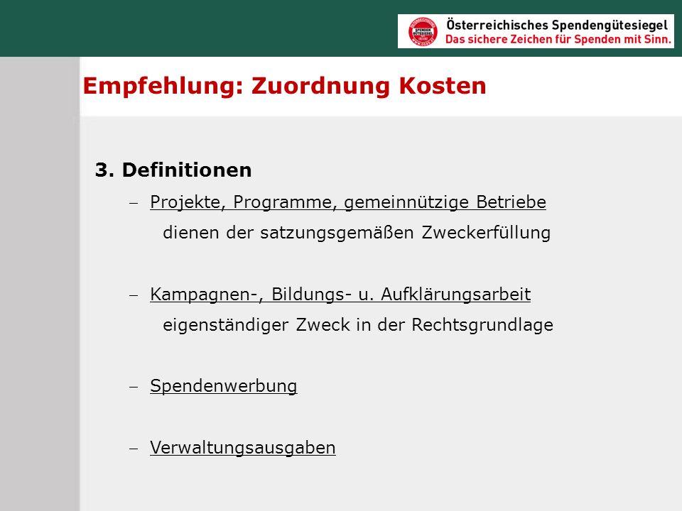 Empfehlung: Zuordnung Kosten