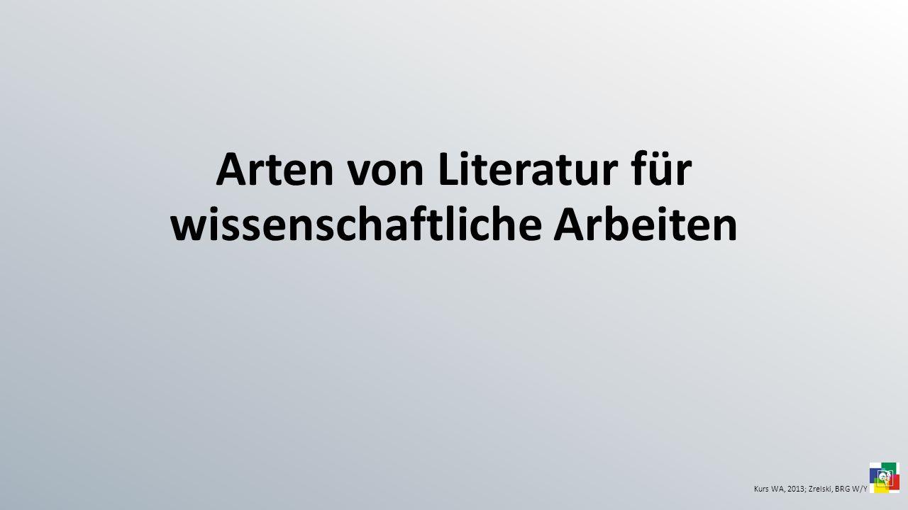 Arten von Literatur für wissenschaftliche Arbeiten