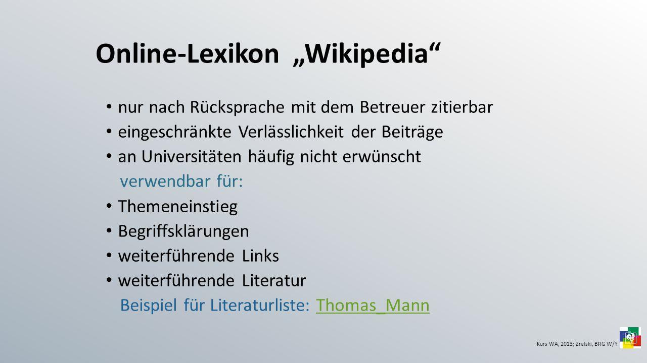"""Online-Lexikon """"Wikipedia"""