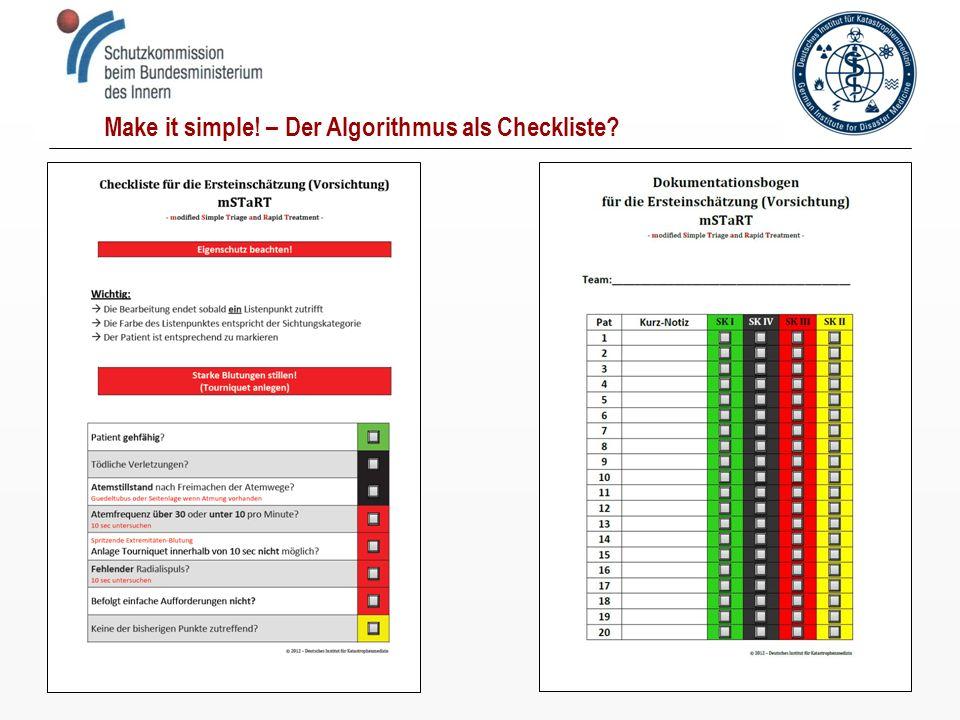 Make it simple! – Der Algorithmus als Checkliste