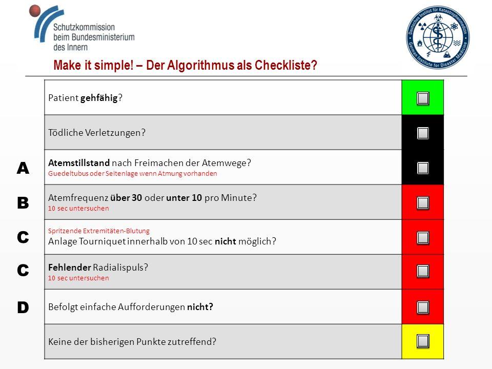 A B C C D Make it simple! – Der Algorithmus als Checkliste