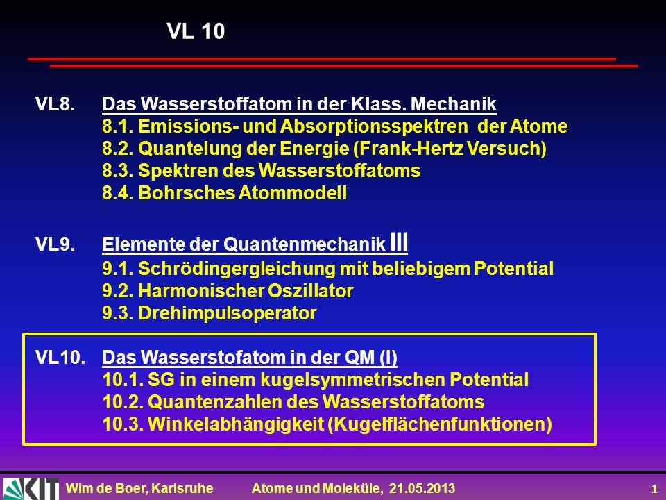 VL 10 VL8. Das Wasserstoffatom in der Klass. Mechanik