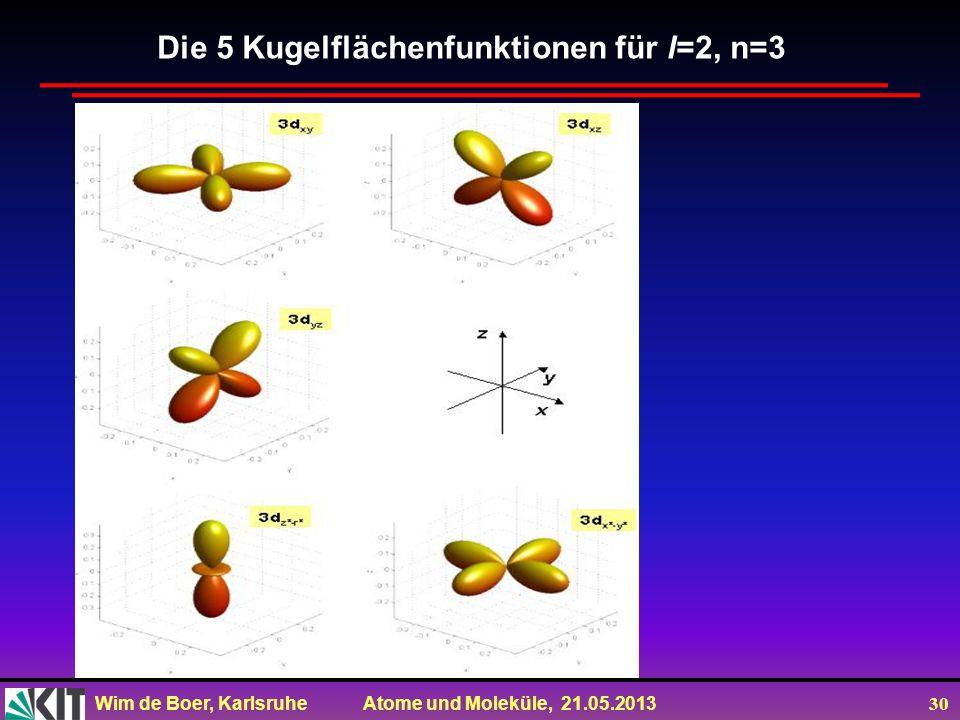 Die 5 Kugelflächenfunktionen für l=2, n=3