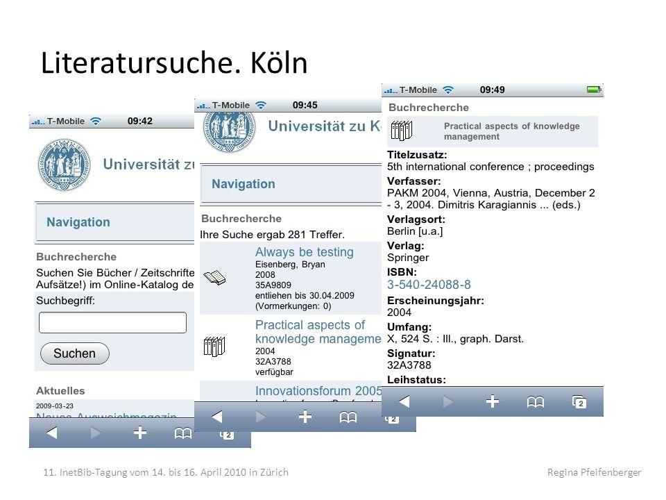 """Literatursuche. Köln """"reine Suche"""