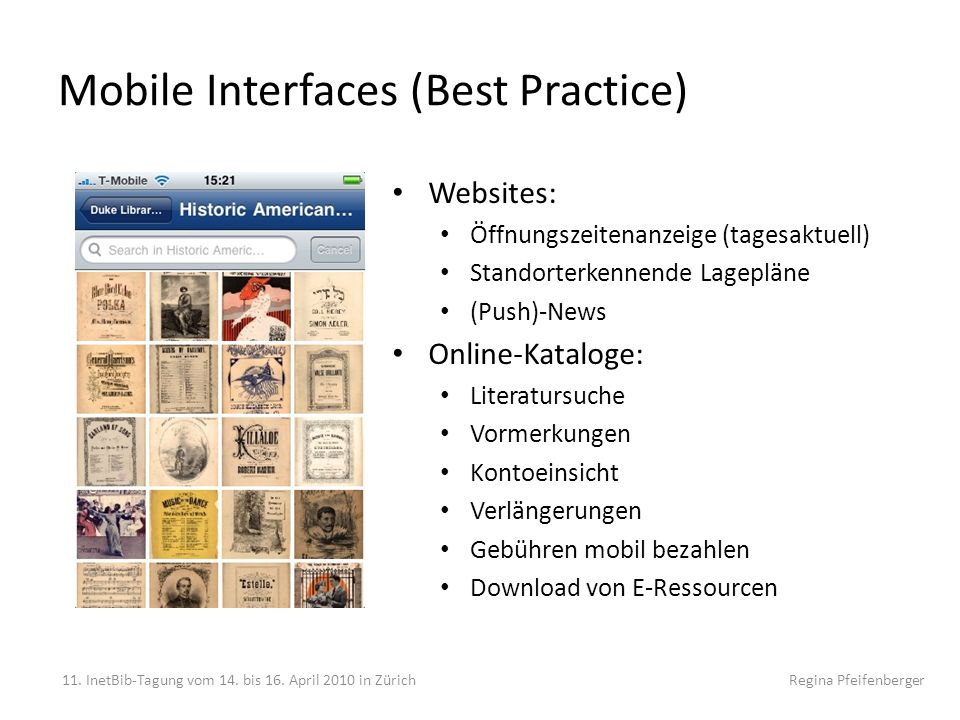 Mobile Interfaces (Best Practice)