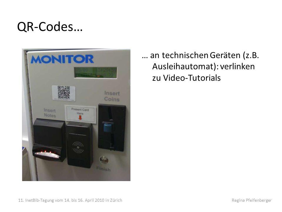 QR-Codes… … an technischen Geräten (z.B. Ausleihautomat): verlinken zu Video-Tutorials.