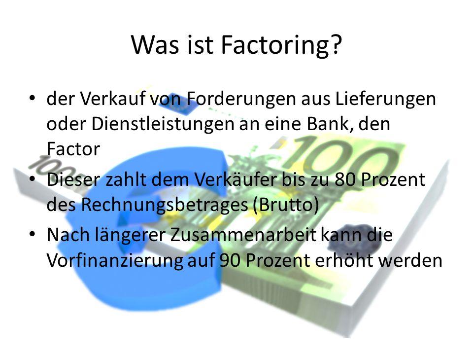 Was ist Factoring der Verkauf von Forderungen aus Lieferungen oder Dienstleistungen an eine Bank, den Factor.