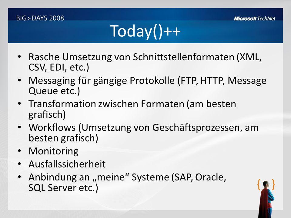 Today()++ Rasche Umsetzung von Schnittstellenformaten (XML, CSV, EDI, etc.) Messaging für gängige Protokolle (FTP, HTTP, Message Queue etc.)