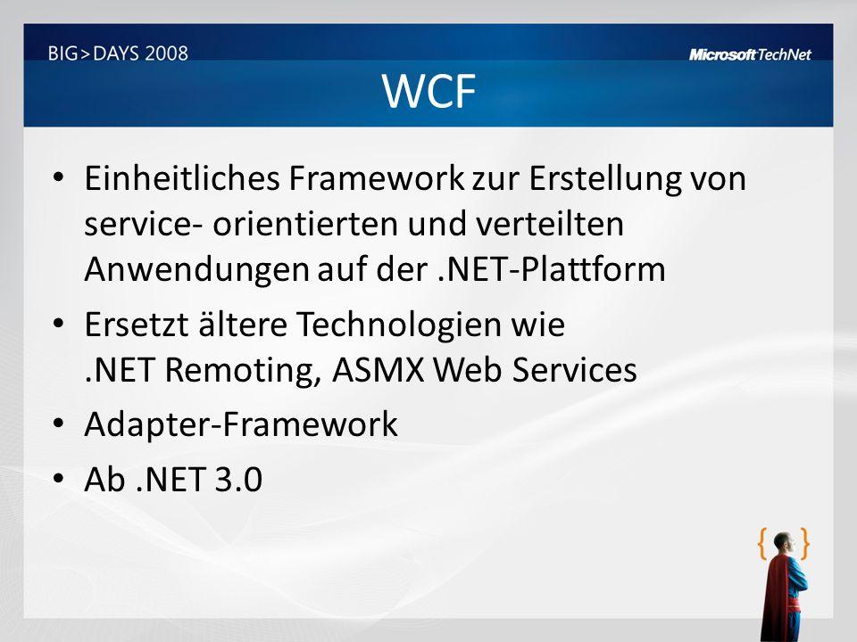 WCF Einheitliches Framework zur Erstellung von service- orientierten und verteilten Anwendungen auf der .NET-Plattform.