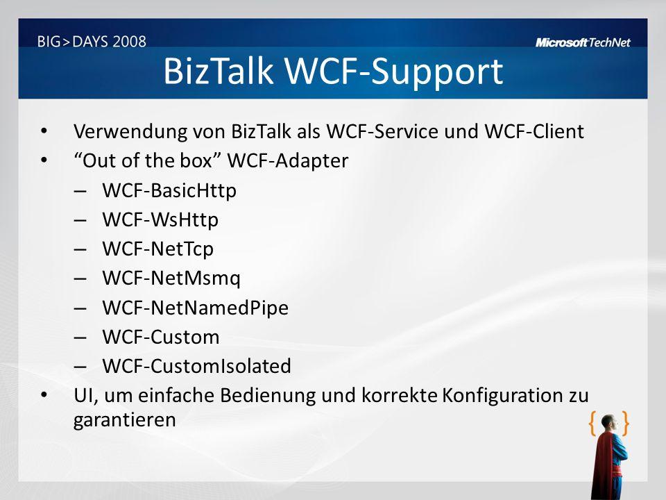 BizTalk WCF-Support Verwendung von BizTalk als WCF-Service und WCF-Client. Out of the box WCF-Adapter.