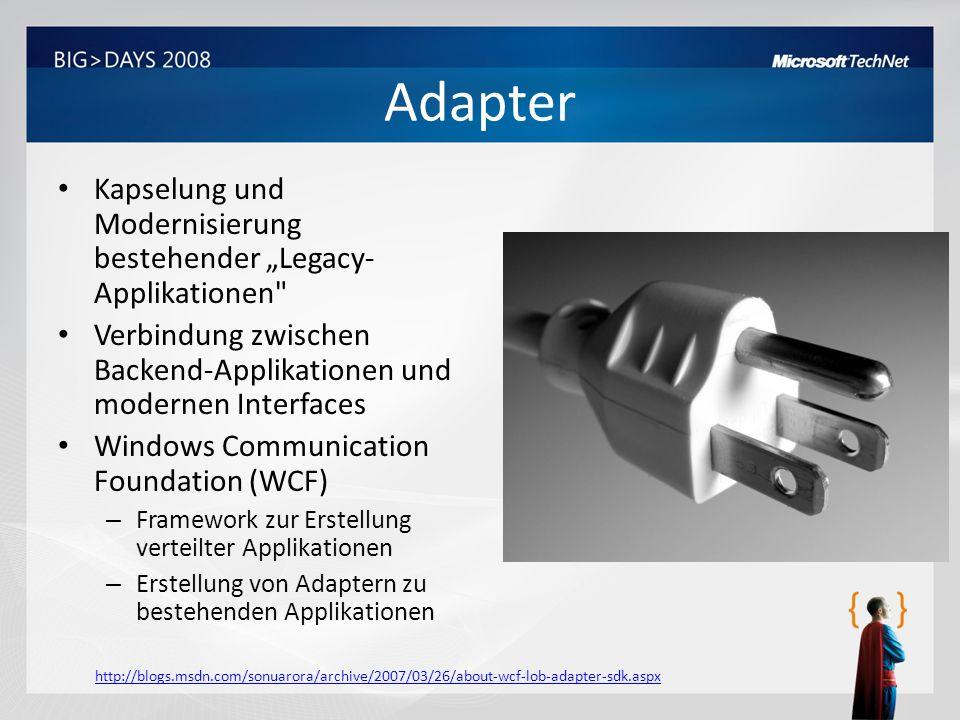 """Adapter Kapselung und Modernisierung bestehender """"Legacy-Applikationen Verbindung zwischen Backend-Applikationen und modernen Interfaces."""