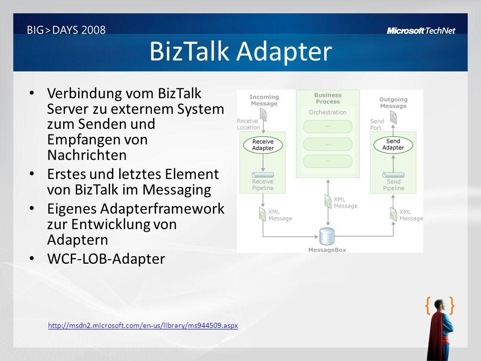 BizTalk Adapter Verbindung vom BizTalk Server zu externem System zum Senden und Empfangen von Nachrichten.
