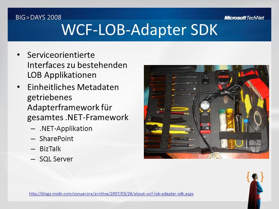 WCF-LOB-Adapter SDK Serviceorientierte Interfaces zu bestehenden LOB Applikationen.