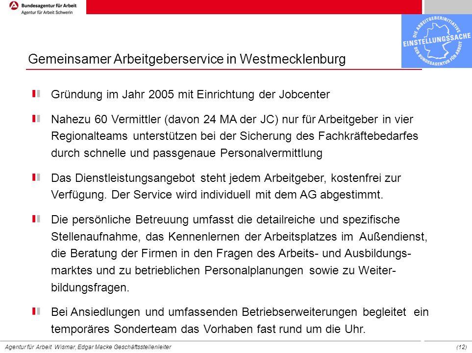 Gemeinsamer Arbeitgeberservice in Westmecklenburg