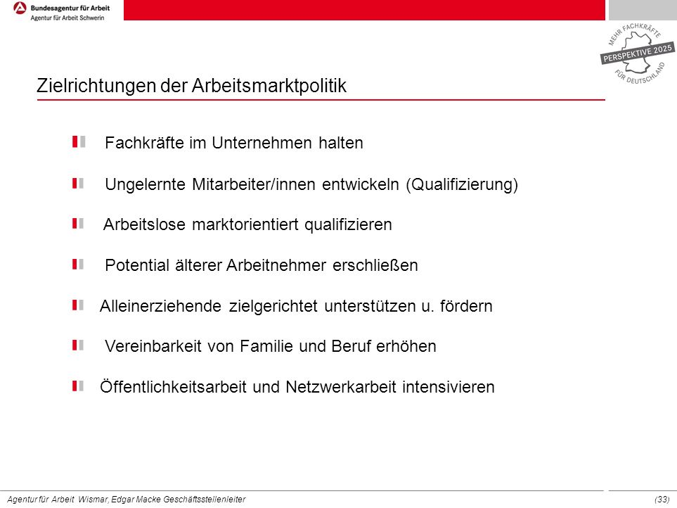 Zielrichtungen der Arbeitsmarktpolitik