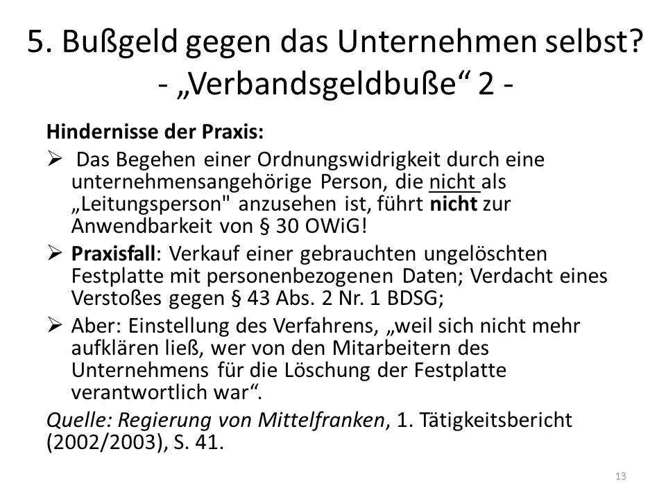"""5. Bußgeld gegen das Unternehmen selbst - """"Verbandsgeldbuße 2 -"""