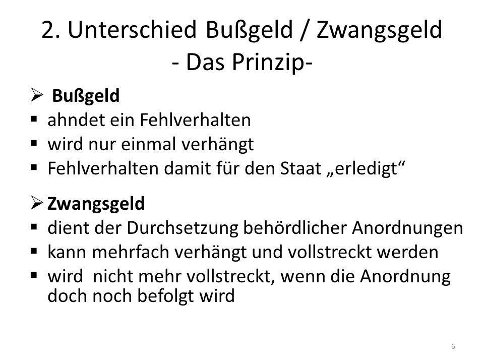 2. Unterschied Bußgeld / Zwangsgeld - Das Prinzip-