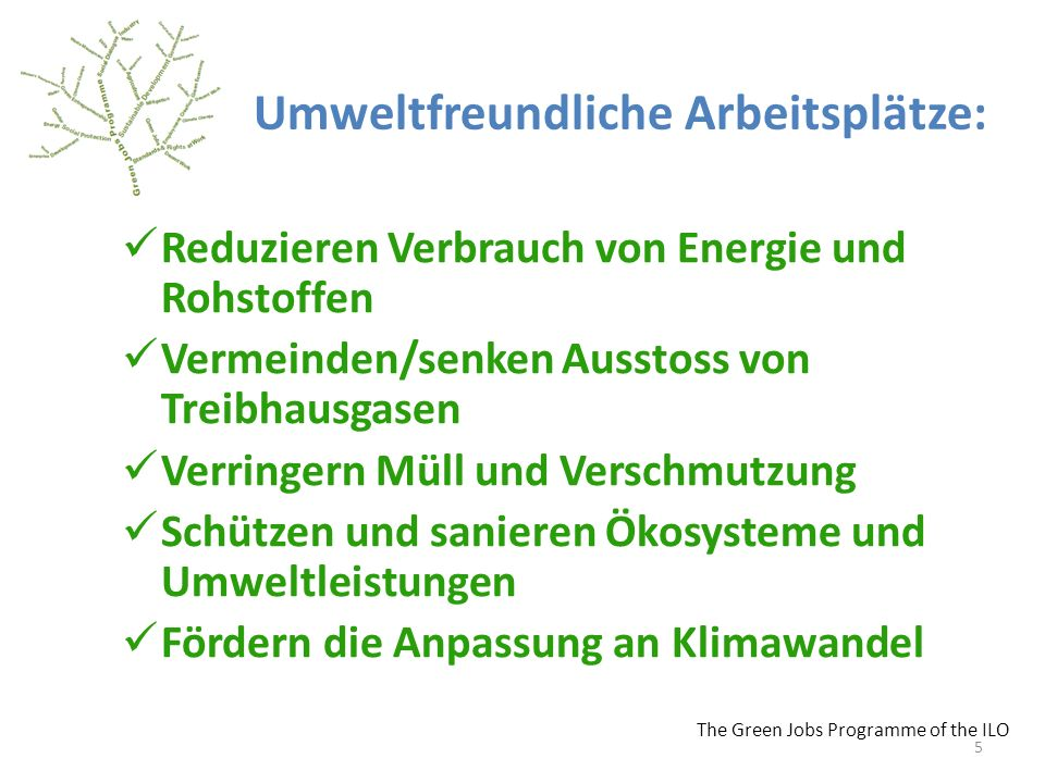 Umweltfreundliche Arbeitsplätze: