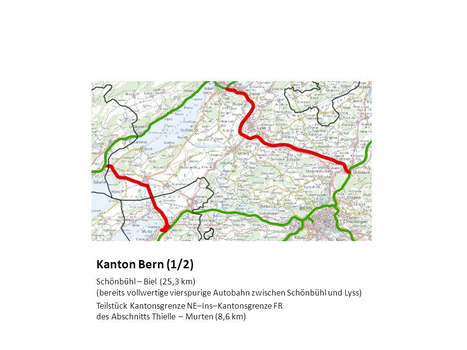 Kanton Bern (1/2) Schönbühl – Biel (25,3 km) (bereits vollwertige vierspurige Autobahn zwischen Schönbühl und Lyss)