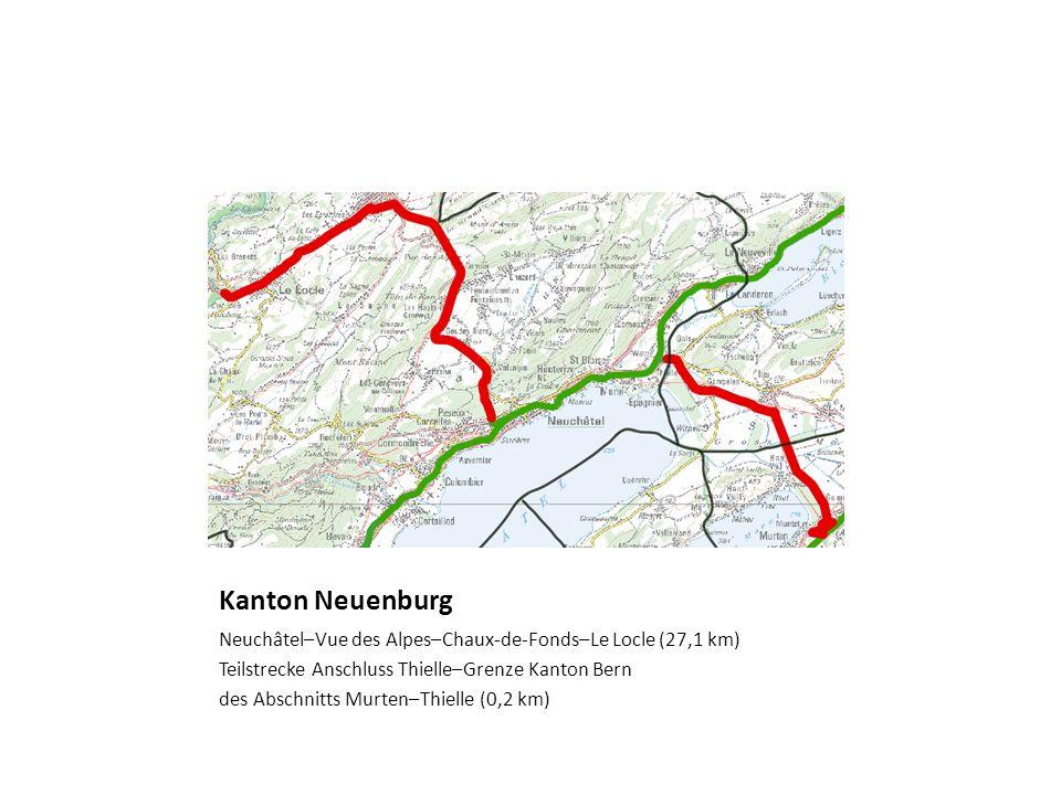 Kanton NeuenburgNeuchâtel–Vue des Alpes–Chaux-de-Fonds–Le Locle (27,1 km) Teilstrecke Anschluss Thielle–Grenze Kanton Bern.