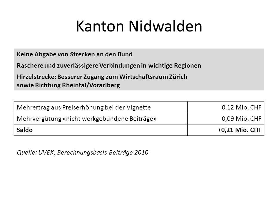 Kanton Nidwalden Keine Abgabe von Strecken an den Bund