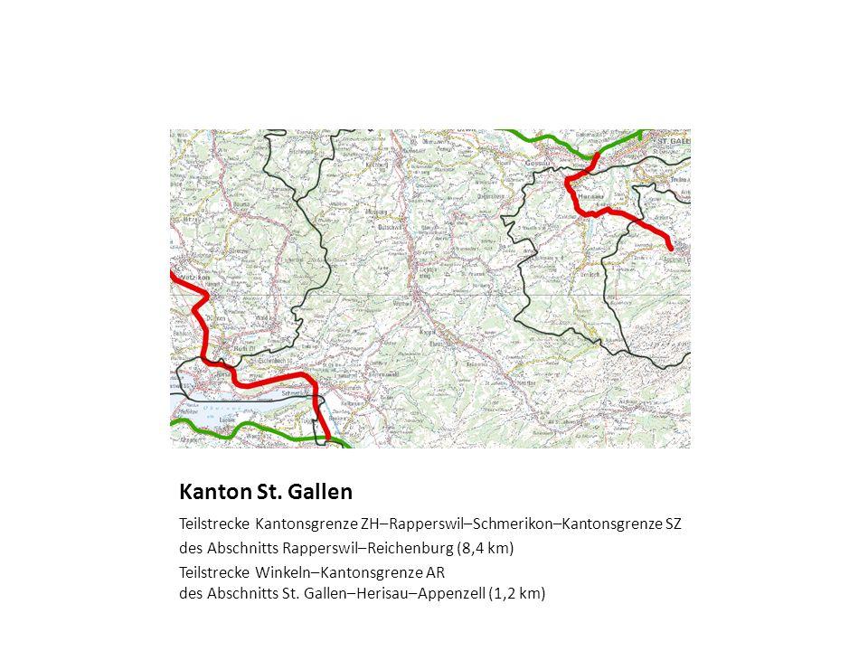 Kanton St. Gallen Teilstrecke Kantonsgrenze ZH–Rapperswil–Schmerikon–Kantonsgrenze SZ. des Abschnitts Rapperswil–Reichenburg (8,4 km)